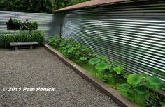 a shiny, galvanized-steel wall screen, galvan metal, water gardens, fenc