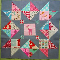 Grey, Aqua, Red, Love in the Mist Block modified.... by Oneygirl, via Flickr
