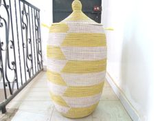 Lemon Yellow and White Tall Toy Basket, laundry hamper chevron pattern, spring colours on Etsy, $149.00