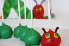 """From """"And Everything Else"""" blog: Very Hungry Caterpillar cake pops"""