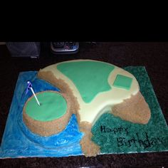 Golf cake for Grandpa's 69th bday!  Made with the lg paisley pan