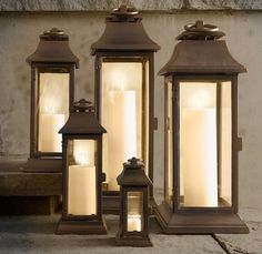 How to Outfit Your Patio Like a Posh Hotel: Choose soft, romantic lighting to set a relaxing mood. These iron lanterns ($42-$136, originally $59-$195) have a weathered, dark-brown finish.