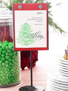 Dinner Party - Advertise your menu to party guests on a pretty display. Print the food list onto plain paper and then decorate it with scrapbooking stamps or rub-ons. Glue the sheet to a background paper and embellish with buttons.