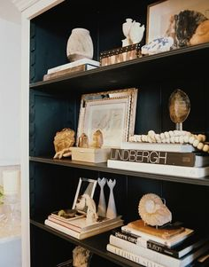 Love the styling of these striking dark shelves.