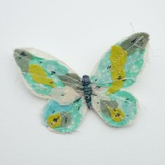 Fabric butterfly brooch- TURQUOISE