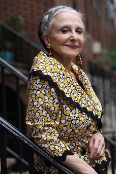 """At 79 years old, Joyce believes, """" To age is a privilege"""".                                                              right on, lady!  Hope to be this stylish at her age!"""