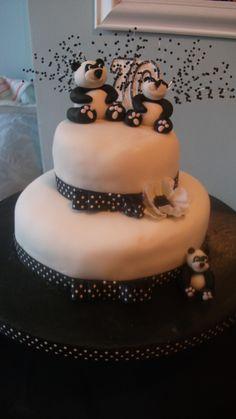 cake inspir, birthday idea, panda birthday, 70th birthday, panda parti, birthday cakes