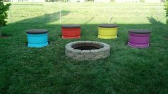 Our new fire pit!! Think crate seats only with tire rims:)