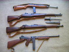 WWII era - M1 Carbine, Garand, 03 Springfield & Thompson