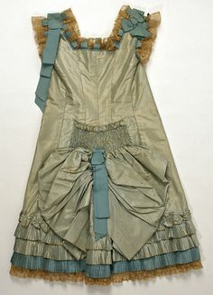 Child's striped silk taffeta dress with mother-of-pearl buttons (back), probably American, late 1870s.