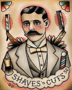 Traditional Tattooed Barber Tattoo Art Print, http://www.etsy.com/shop/ParlorTattooPrints
