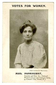 Emmeline Pankhurst, British political activist and leader of the British suffragette movement.
