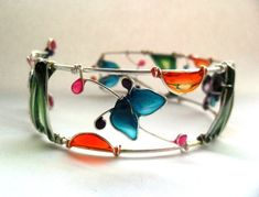 Wire Wrapped and Resin Bracelet  Colorful  by ThePurpleBalloon, €46.00