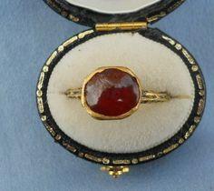 Tudor era cabochon garnet ring, circa 1550