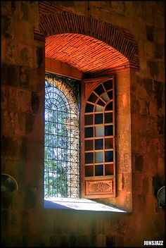*beautiful window & shutter, amazing glass artistry