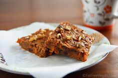 Moist and dense and a little chewy, these Carrot Cake Bars are refined sugar-free and totally delicious. vegan treat, carrot cakes, fat free, food, bar recipes, vegan carrot, carrots, cake bars, vegan kitchen