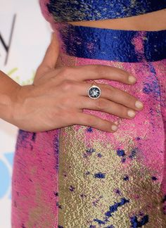 Nina Dobrev chose a soft pink manicure with a subtle glitter tip at the 2014 Teen Choice Awards.