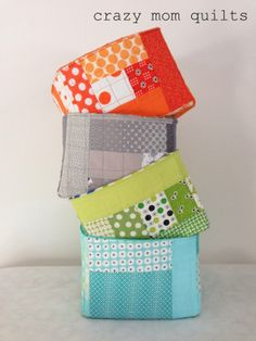 crazy mom quilts - More quilted storage cubes