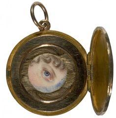 Regency lover's eye portrait 1817 with hairwork