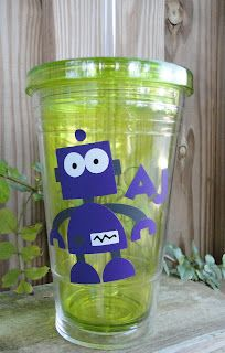 Eco tumbler with robot design from the cricut cartridge boys will be boys