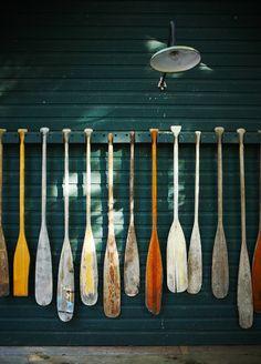 Oars & color. Nautical art.