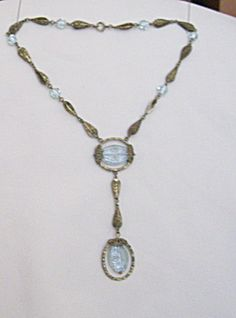 Czech Necklace-Etched Aquamarine & Brass