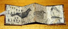 Kim Henkel – accordian mini book: image transfers were covered with used and emptied tea bags