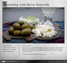 """""""Try finding a windswept spit of rock, or a tallship to eat your snack on."""" MORE RECIPES: http://itsh.bo/LQC1sC #gameofthrones #davos #food #recipes"""