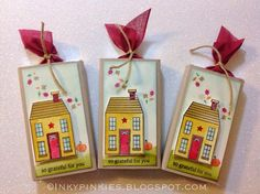 InkyPinkies: Holiday Home Treat Wraps for Autumn. Use the Holiday Home bundle from Stampin' Up Holiday 2014 mini catalog to create gum treat wrap for your loved ones!