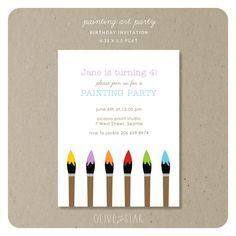 painting art party  :  birthday invitation set