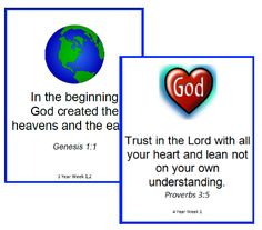 A list of Bible Verses for 2 Year Olds.  Printable Memory Cards with images.