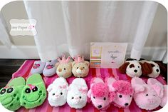 party favors, birthday, little girls, pajama party, pea, slipper, sleepover party, parti idea, party gifts