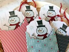 Sizzix Die Cutting Inspiration | Mini Snowman Tags by Audrey Pettit--these would also make cute class valentines.