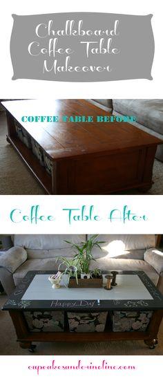Chalkboard Coffee Table makeover | Cupcakes & Crinoline