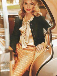 #houseofglam | Tweed jacket, satin tie-bow blouse, and printed jacquard pants.