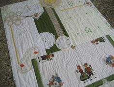 Quilt made from vintage linen and doilies, hand pieced and hand quilted.  www.bekahduhandmade.wordpress.com