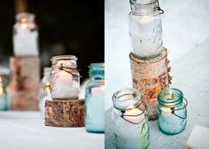 rustic ice skating party : candles in ball mason jars [blue glass & clear], snowflakes on treat bags, hot cocoa bar