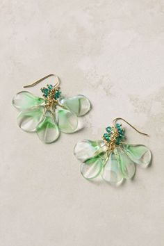 Green glass bead earrings - $19.95