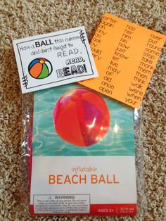 End of Year Gift Idea for students.  Give each of your kiddos a beach ball and a list of sight words to review over the summer!  See blog post for details :)