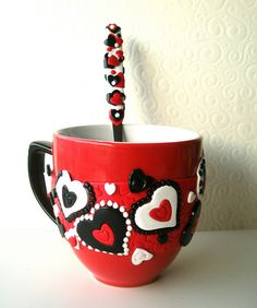 polymer clay on ceramic cup