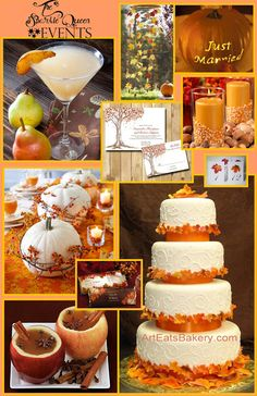 This is my interpretation of a simple, elegant, fall wedding. Love all the ideas. Especially the white pumpkins instead of flowers. Those with some candles would make perfect centerpieces