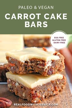 Paleo Vegan Carrot Cake Bars  #justeatrealfood #realfoodwithjessica