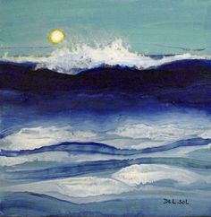"""""""SUN AND SURF""""- Abstract Seascape Acrylic Painting, painting by artist Cristina Del Sol"""