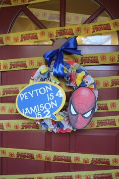 My Spiderman Birthday Wreath for the kids Birthday Party