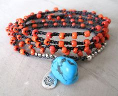 """Bohemian jewelry """"Spanish Gypsy""""  turquoise and coral wrap bracelet, necklace, lariat via Etsy."""