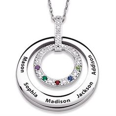 Circle Mothers Diamond Necklace with Kids Names and Birthstones - Perfect Christmas gift or Mother's Day gift for mom, grandma, or your wife.