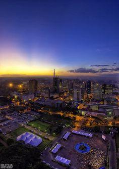 "Nairobi, Kenya - aerial view at night time!  ""Cause everybody's trying to get paid in Nairobi"""