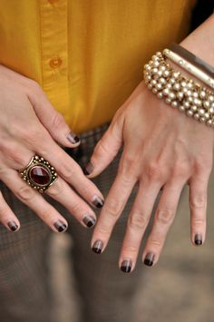 Half-moon manicure