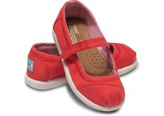 Toms Red Canvas Tiny TOMS Mary Janes Online