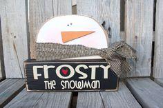Christmas Decor wood block set . . SnOwMaN. . . Frosty the Snowman winter snowflake gift home seasonal decor. $19.95, via Etsy.